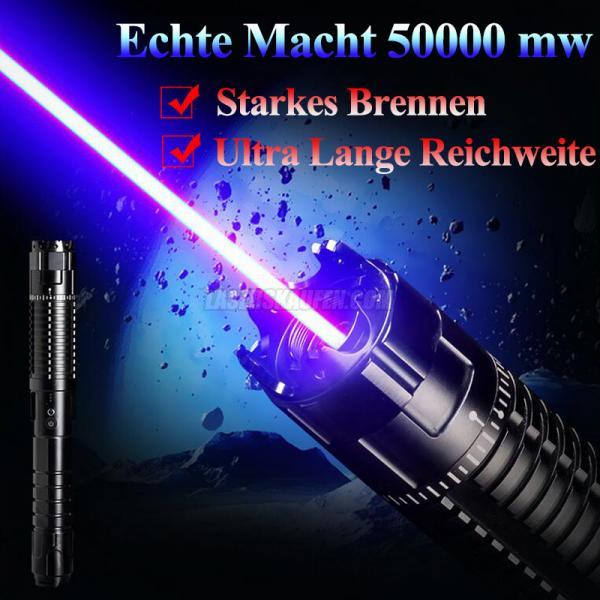 Laserpointer 50000mW(50W) Blau 8 in 1 Mit Laserschwert Stärkster Laser HTPOW