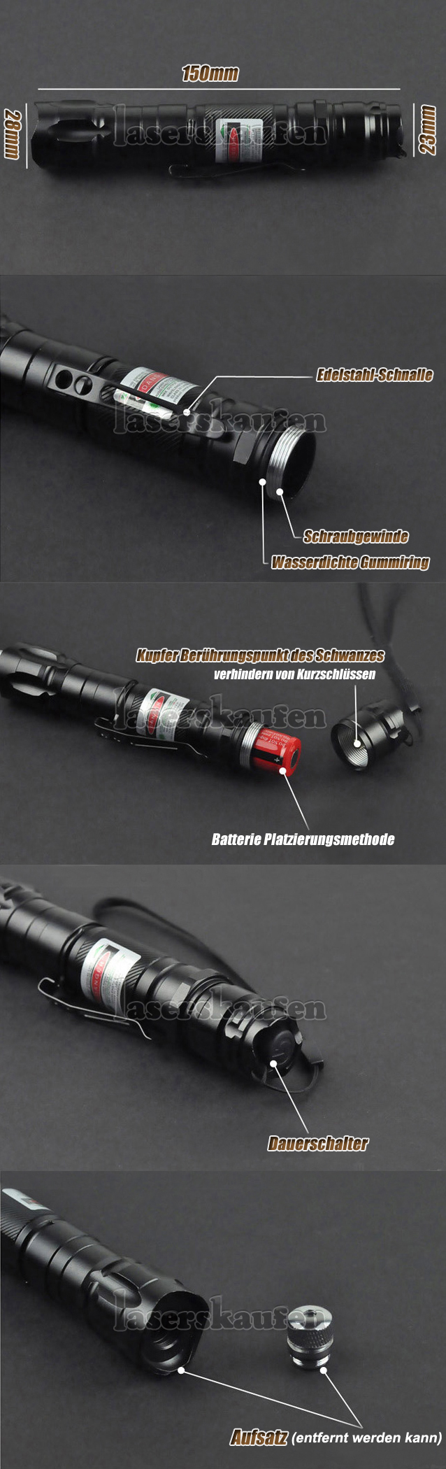 200mW Laserpointer Grün wasserdicht